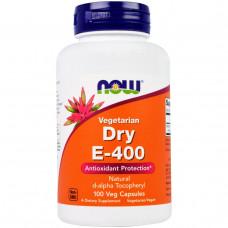 Витамин Е (Vitamin E) Now Foods, Сухой E-400, 100 растительных капсул