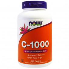 Витамин С - 1000 (Vitamin C - 1000) Now Foods с замедленным высвобождением 250 таб.