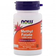 Bитамин Б9 - Фолиевая кислота (Vitamin B9 - Folate) Now Foods, Methyl Folate , 1,000 mcg, 90 Tablets