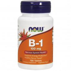 Витамин В1 Vitamin B-1 Тиамин Now Foods, B-1, 100 мг, 100 таблеток