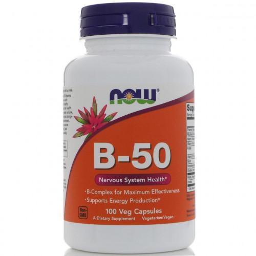 Комплекс витаминов группы В В complex Now Foods, B-50, 100 капсул