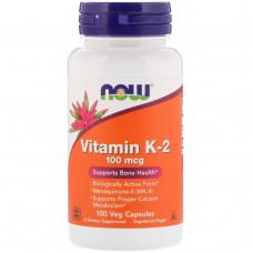 Витамин K-2, Now Foods, 100 мкг, 100 вегетарианских капсул