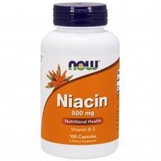 Bитамин Б3  Ниацин Vitamin B3 - Niacin Now Foods Bитамин В3 500 мг, 100 капсул