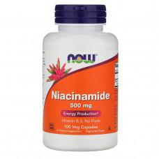 Ниацинамид, витамин В-3, Niacinamide Now Foods  500 мг, 100 капсул