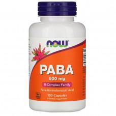 PABA, Парааминобензойная кислота, витамин В-10 Now Foods, ПАБК, 500 мг, 100 капсул