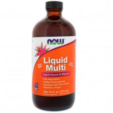 Мультиватамины Пищевая добавка  Liquid Mult Now Foods i со вкусом диких ягод 16 жидких унций (473 мл)