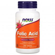 Bитамин Б9 - Фолиевая кислота Now Foods, Фолиевая кислота с витамином B12, 800 мкг, 250 таблеток