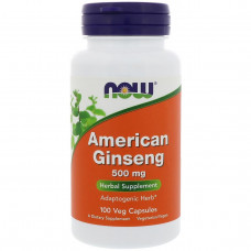 Now Foods, Американский женьшень, 500 мг, 100 капсул
