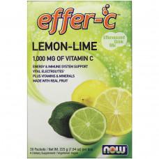 Now Foods, Effer-C, Электролиты, смесь для шипучего напитка 30 пакетиков по 7.5 г Лимон-лайм