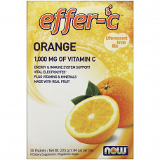 Now Foods, Effer-C, Электролиты, смесь для шипучего напитка 30 пакетиков по 7.5 г