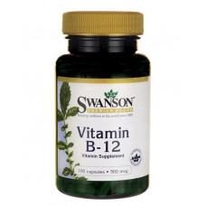 Витамин B-12, Swanson, 500 мкг, 100 капсул.