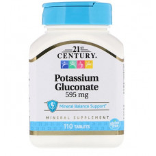 Глюконат калия 21st Century 595 мг, 110 таблеток