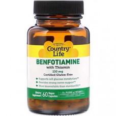 Country Life, Бенфотиамин с тиамином, 150 мг, 60 веганских капсул