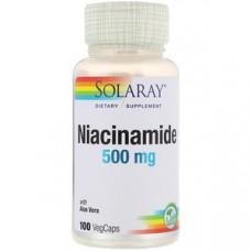 Никотинамид, Solaray 500 мг, 100 капсул