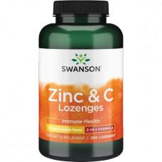 Swanson Zinc + C леденцы апельсин-лимон (100мг+25мг) 200 таб