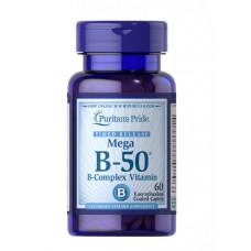 Комплекс витаминов группы В В complex Витамин B-50  Puritan's Pride длительное высвобождение60 таб.