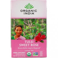 Organic India, Чай Тулси, Сладкая роза, Без кофеина, 18 чайных пакетиков, 1,01 унции (28,8 г)