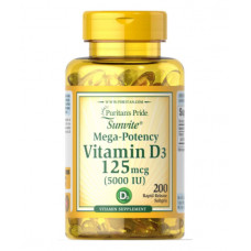 Витамин Д3  Vitamin D-3 Now Foods 5000 МЕ (200кап.)