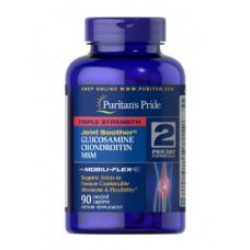 Глюкозамин, Хондроитин,  МСМ Тройная сила, для суставов Puritan's Pride,  90 таб.