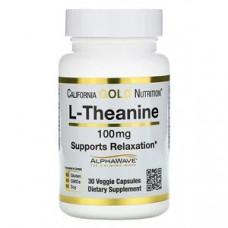 L-теанин California Gold Nutrition, AlphaWave, поддержка расслабления, успокоение, 100 мг, 30 капс.