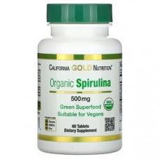 Спирулина органическая, сертификат USDA Organic, 500 мг, 60 таблеток California Gol
