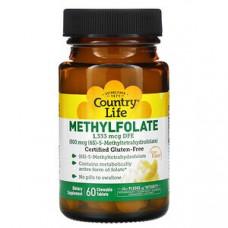 Комплекс Метилфолат с апельсиновым вкусом, Country Life,800 мкг, 60 растворимых таблеток