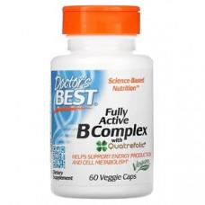 Витамины B комплекс активный  с Quatrefolic Doctor's Best, 60 вегетарианских капсул