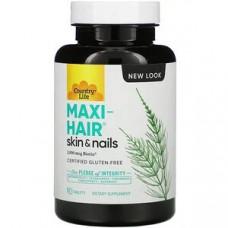 Country Life, Maxi-Hair, добавка для волосся, шкіри та нігтів, 90 таблеток