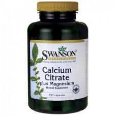 Кальций и магний цитрат Swanson, 150 капсул
