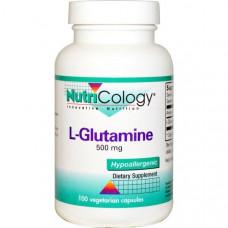 Nutricology, L-глутамин, 500 мг, 100 вегетарианских капсул