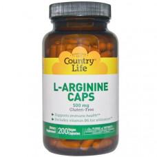 Country Life, L-аргинин в капсулах, 500 мг, 200 капсул