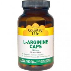 Country Life, L-аргинин в капсулах, 500 мг, 100 вегетарианских капсул