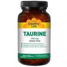 Country Life, Таурин, 500 мг, 100 таблеток