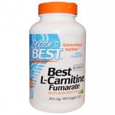 Doctors Best, Лучший L-карнитина фумарат, 855 мг, 180 вегетарианских капсул