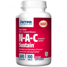 Jarrow Formulas, N-A-C Sustain, N-ацетил-L-цистеин, 600мг, 100таблеток