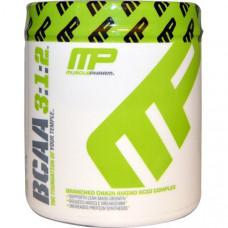 Muscle Pharm, BCAA (аминокислоты с разветвленными боковыми цепями), 3:1:2, неароматизированный порошок, 0,39 фунта (180 г)