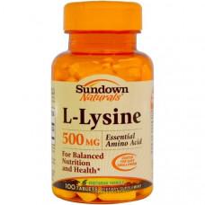 Sundown Naturals, L-лизин, 500 мг, 100 таблеток
