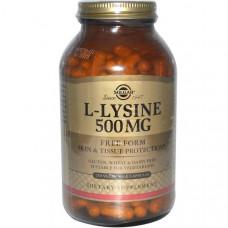 Solgar, L-лизин, 500 мг, 250 растительных капсул