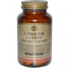 Solgar, Л-Пролин/Л-лизин, свободная форма, 500mg/500 mg 90 таблеток