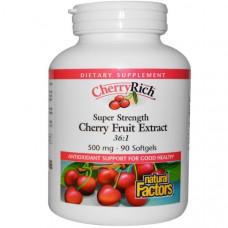 Cверхмощный экстракт плодов вишни, Natural Factors, CherryRich, 500 мг, 90 мягких капсул