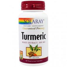 Solaray, Экстракт из корня куркумы, 300 мг, 60 вегетарианских капсул