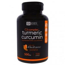 Куркумин C3, Sports Research, 500 мг, 120 Капсул
