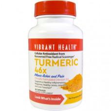 Vibrant Health, Куркума 46X, версия 3.0, 60 капсул