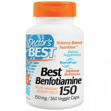Doctors Best, Best, Бенфотиамин 150, 150 мг, 360 растительных капсул