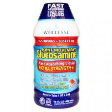 Wellesse Premium Liquid Supplements, Joint Movement Glucosamine, глюкозамин для подвижности суставов, натуральный ягодный вкус, 16 жидких унций (480