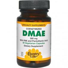 Country Life, не содержит глютена, диметиламиноэтанол (ДМАЭ), коферментированный, 350 мг, 50 капсул