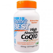 Коэнзим Q10 (Убихинон), с Биоперином,  Doctors Best, 100 мг, 120 капсул,