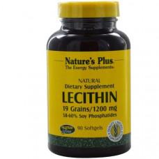 Natures Plus, Лецитин, 1200 мг, 90 мягких капсул