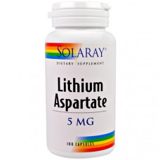 Литий аспартат, Solaray, 5 мг, 100 капсул