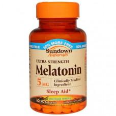 Sundown Naturals, Мелатонин, Супер сила, 5 мг, 90 таблеток